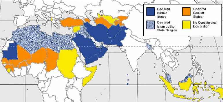 Islamic Religion Map Predominantly Muslim countries